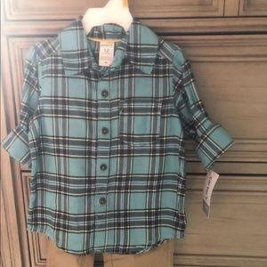 Carters 12 mo 2 pc khaki pants plaid shirt